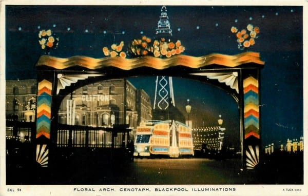Floral Arch, part of the Blackpool Illuminations, Tuck Postcards, History of Blackpool Illuminations