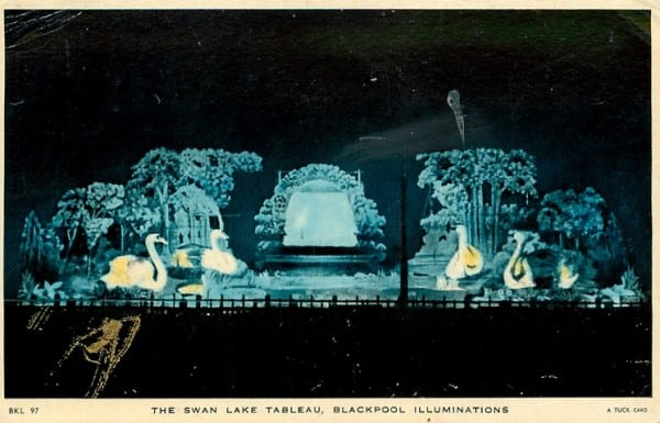 The early Swan Lake Tableau at Blackpool Illuminations, Tuck Postcards, part of the History of Blackpool Illuminations
