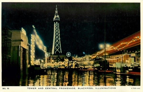 Blackpool Tower and Central Promenade seen illuminated in this Tuck Postcard, part of the History of Blackpool Illuminations