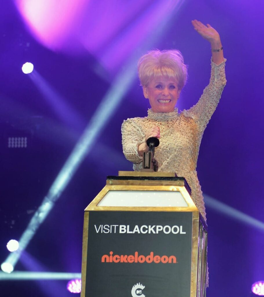 Dame Barbara Windsor Switches on the Blackpool Illuminations in 2016 as one of the switch on stars from previous years