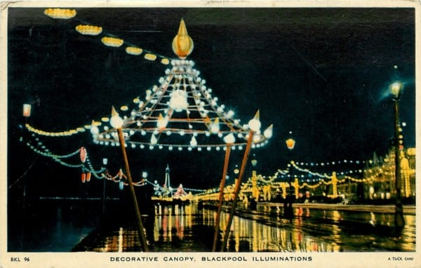 Decorative canopy, part of the Blackpool Illuminations, Tuck Postcards, part of the History of Blackpool Illuminations
