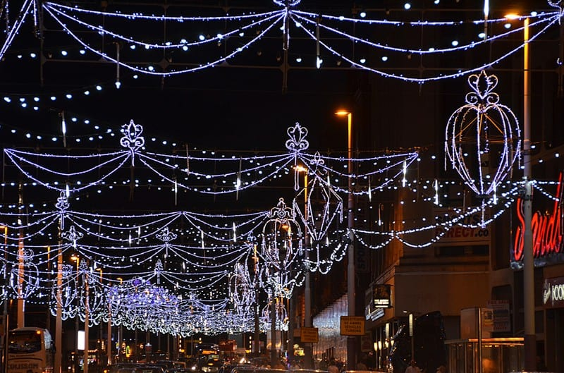 Festoon lights over the road. Find out about Blackpool Illuminations