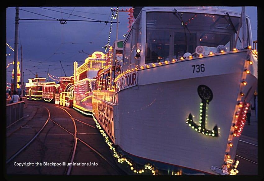 Illuminated trams lined up - Old Blackpool Illuminations photos